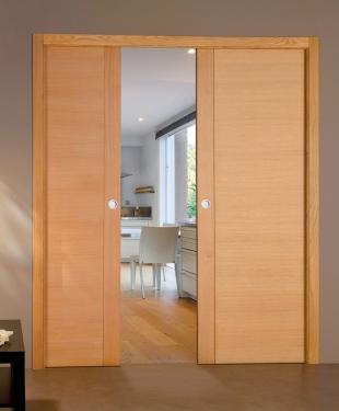 double porte coulissante flat bois massif plaqu ch ne vernis clair reivilo e couliss. Black Bedroom Furniture Sets. Home Design Ideas