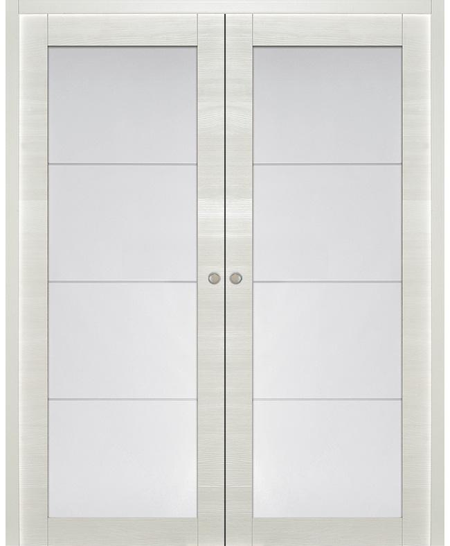 Double porte coulissante bora vitr e sapin blanc satin paul ceyrac e couliss - Double porte coulissante vitree ...