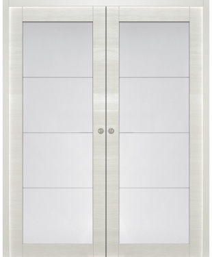 Double porte coulissante blanche collection 2016 sur e couliss for Porte interieur double vitree