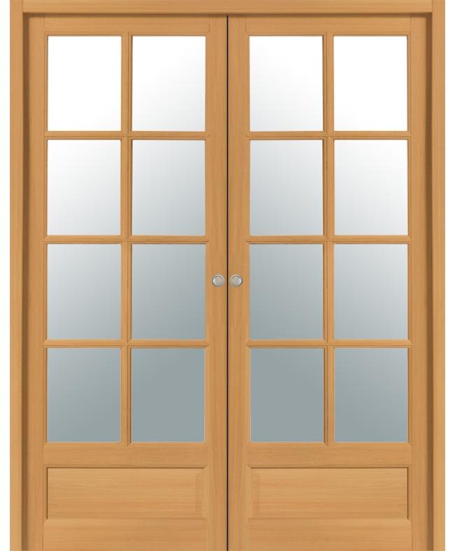 Double porte coulissante boralde 8 carreaux bois exotique for Porte interieur hetre massif