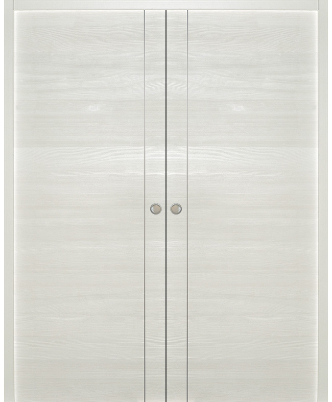 Double porte coulissante epure inserts alu sapin blanc satin paul ceyrac e couliss - Specialiste porte coulissante ...