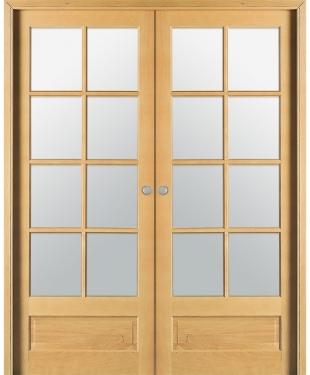Double porte coulissante access 4 carreaux bois plaqu ch ne brut reivilo e c - Double porte coulissante vitree ...