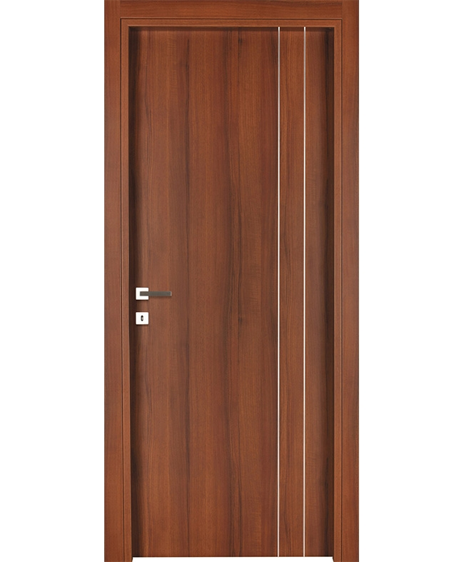 Porte battante alicia inserts alu cpl noyer lisse italia e for Porte italia