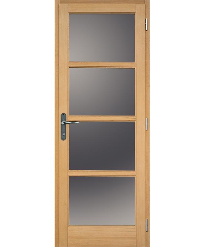 Porte battante access 4 carreaux bois plaqu ch ne brut for Porte 4 carreaux