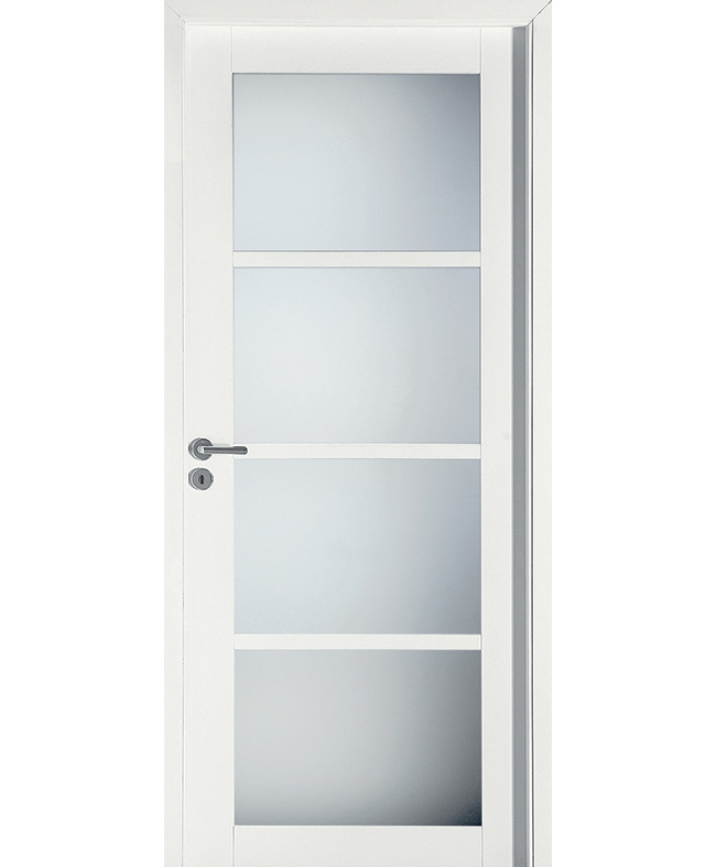 Porte battante com te 4 carreaux h tre massif blanc satin for Porte a carreaux interieur