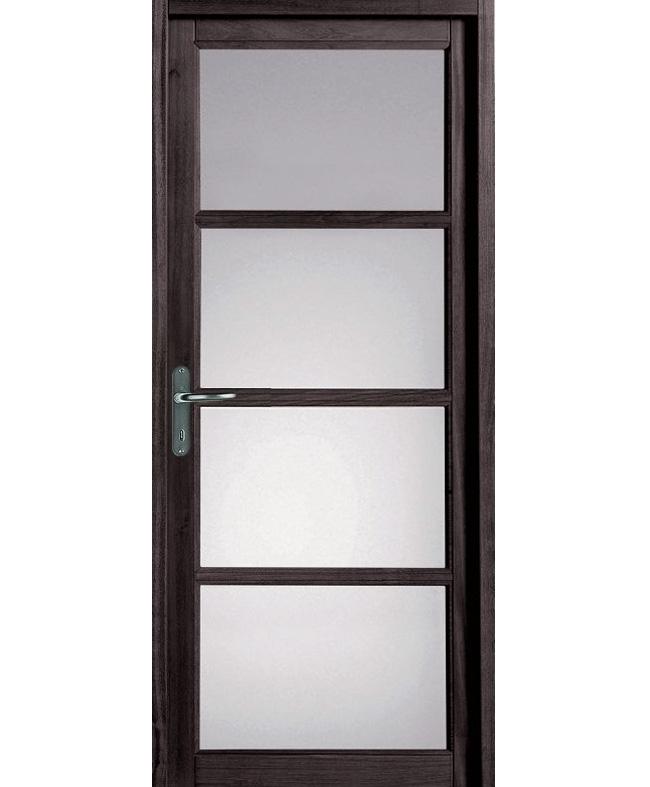 Porte battante jazz 4 carreaux bois exotique massif gris for Porte de service bois lapeyre