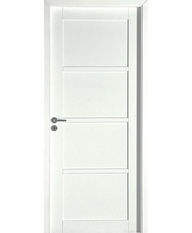 Porte battante neptune h tre massif blanc satin paul for Porte interieur hetre massif