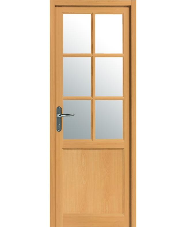 porte battante tarn 6 carreaux bois exotique massif teinte