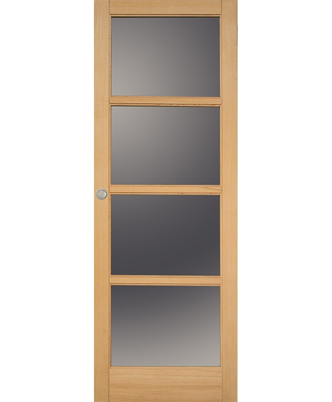 porte coulissante access 4 carreaux bois plaqu ch ne brut. Black Bedroom Furniture Sets. Home Design Ideas