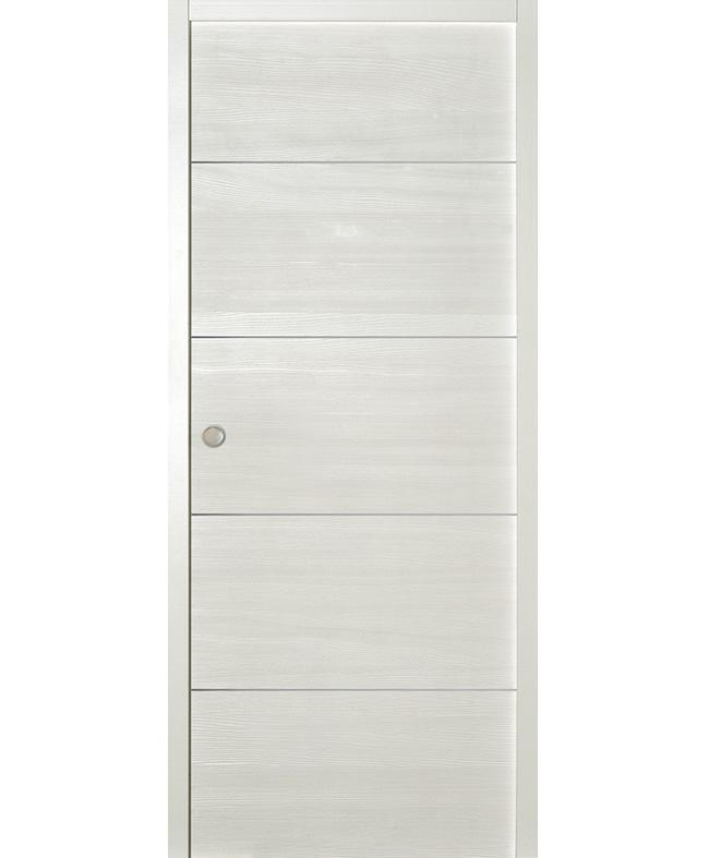 Porte coulissante epure inserts alu sapin blanc satin paul for Porte interieur sapin
