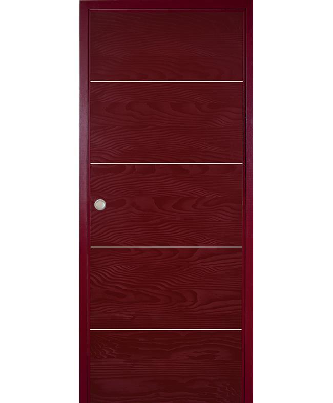 Porte coulissante epure inserts alu sapin rouge bordeaux satin paul ceyrac e - Porte coulissante rouge ...