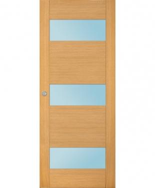 Porte coulissante flat 3 carreaux bois massif plaqu ch ne - Baie coulissante bois leroy merlin ...
